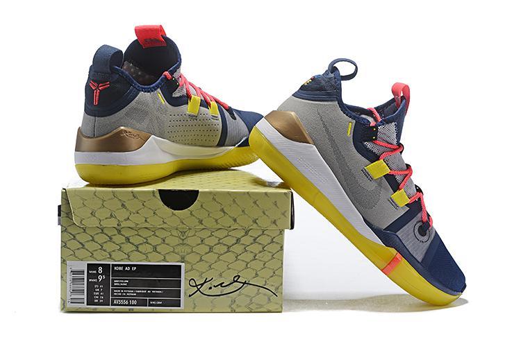 b346b479b55c Elegant Nike Kobe AD Exodus Wolf Grey Yellow Blue Men s Sportswear Basketball  Shoes Bryant Sneakers