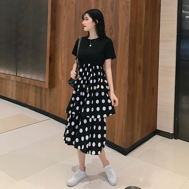 8af19b0a768e Summer Wear New Style Large Size Dress Polka Dot Belly Covering Vintage  Waist Hugging Cake Dress