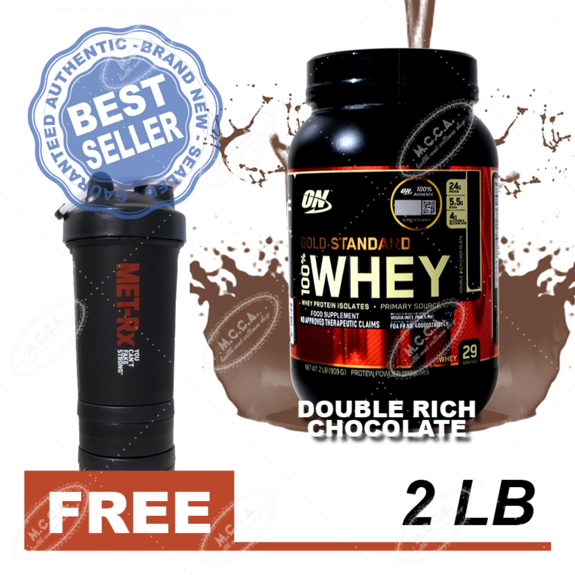 cad054a1e Optimum Nutrition Gold Standard 100% Whey - 2lbs - Double Rich Chocolate  Flavor with Free