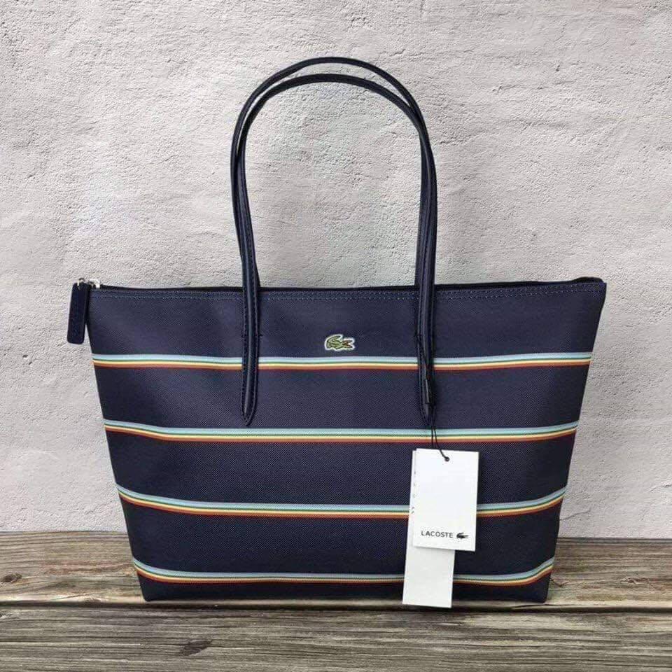 ea29e4df75aa Lacoste Large Tote Bag Stripe - Navyblue