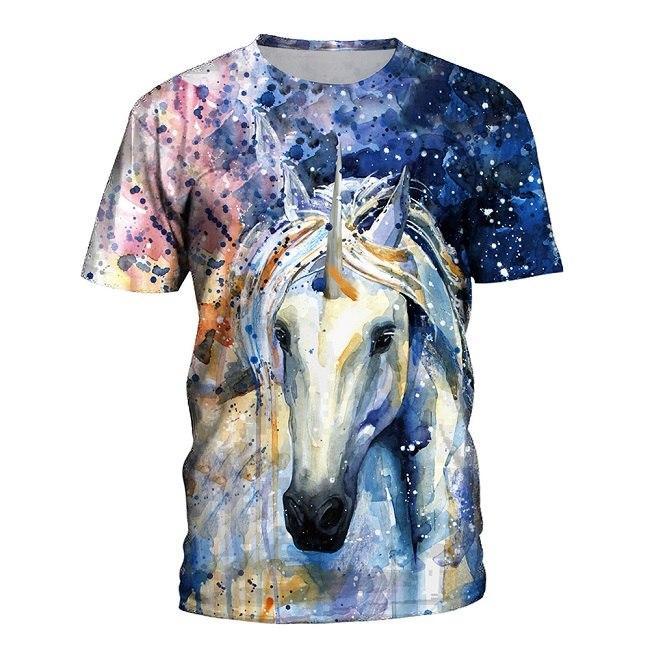 f44ef1e4f7e5 Summer T Shirt Women Animal Horse 3D Print Oil Color Tshirt Hiphop Lnk  Splash T-
