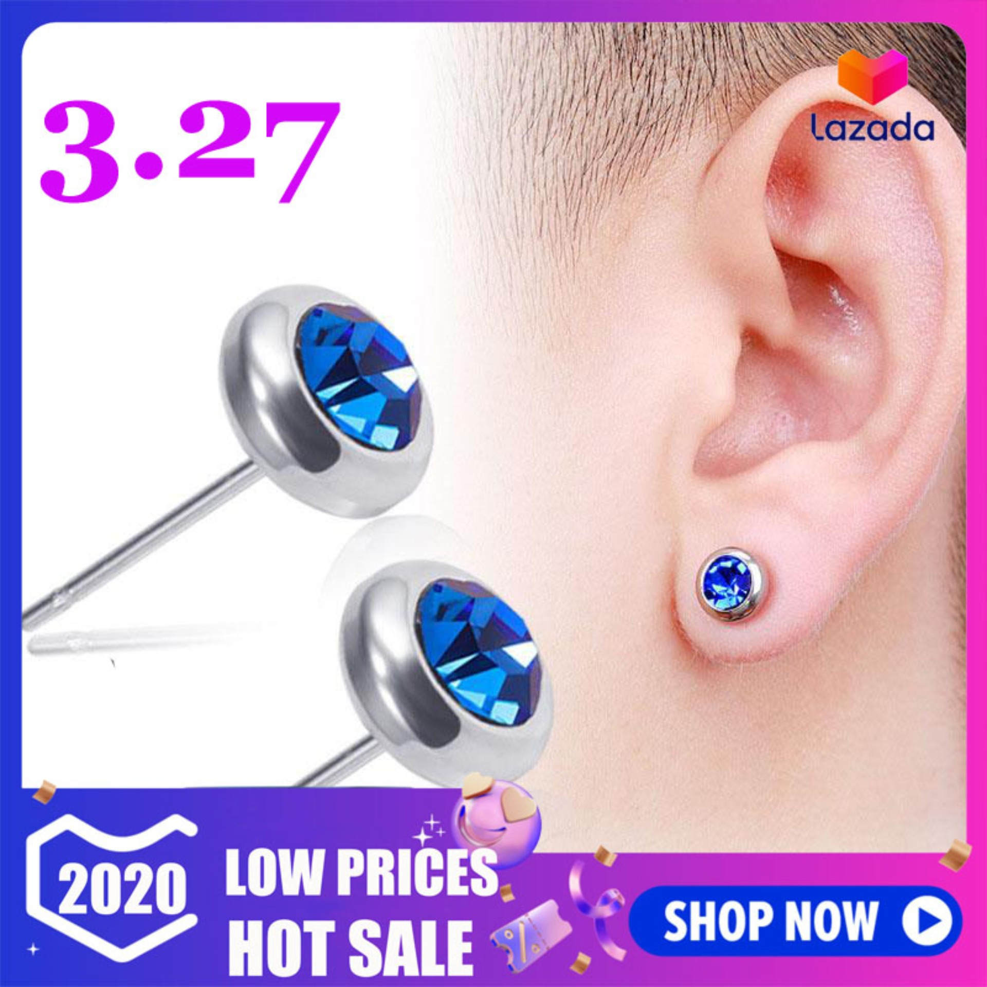 Hexagon Shape 18mm Earrings Large Choice of Colours clip on or stud magnetic