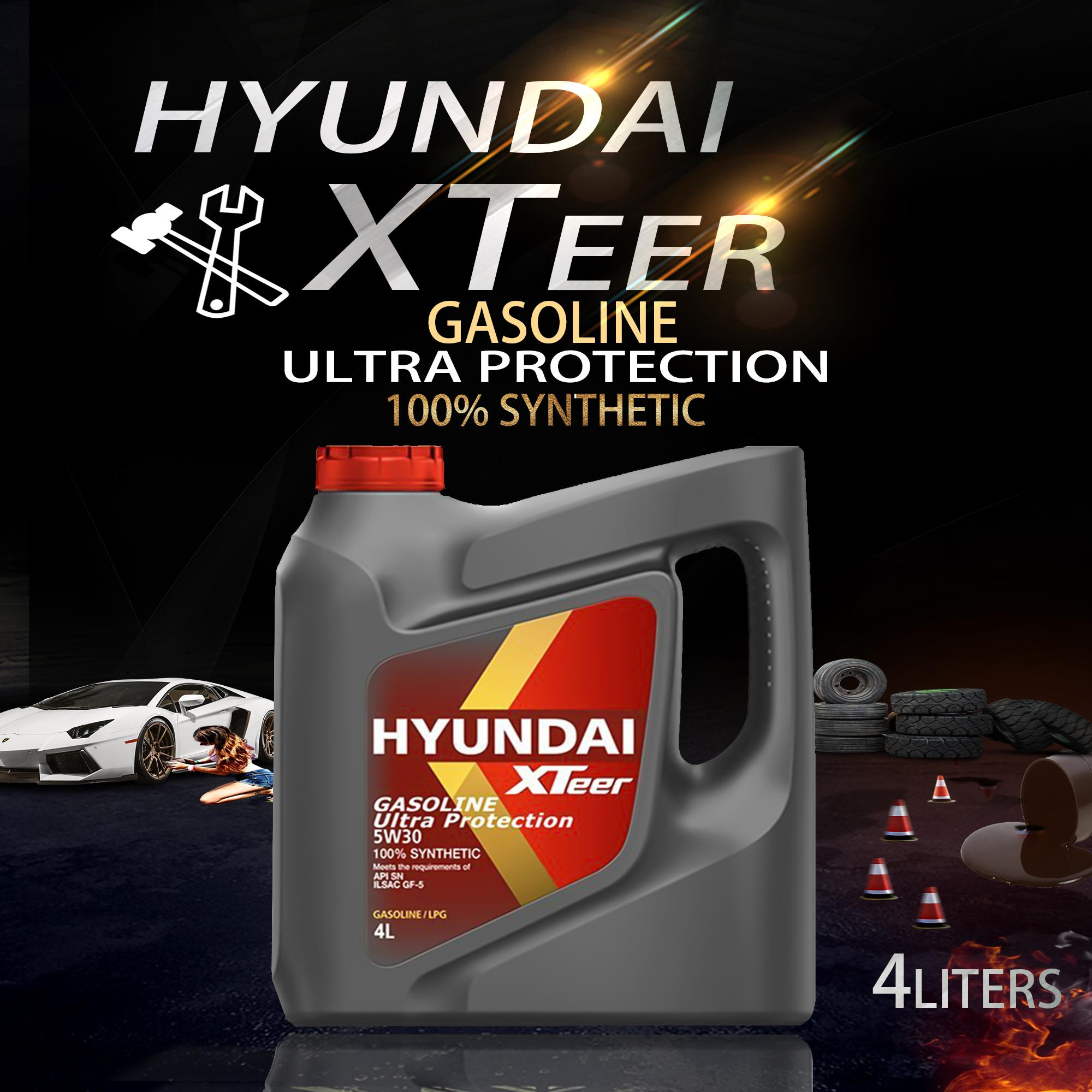 Hyundai XTeer Gasoline Ultra Protection 5W-30 Fully Synthetic Motor Oil 1  Gallon ( 4 Liters )