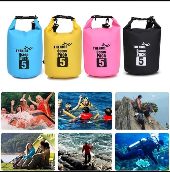 5L Waterproof Beach Storage Bag Waterproof Bucket Outdoor Drift Bag Camping Storage Bag for Swimming Raining Random Color image on snachetto.com