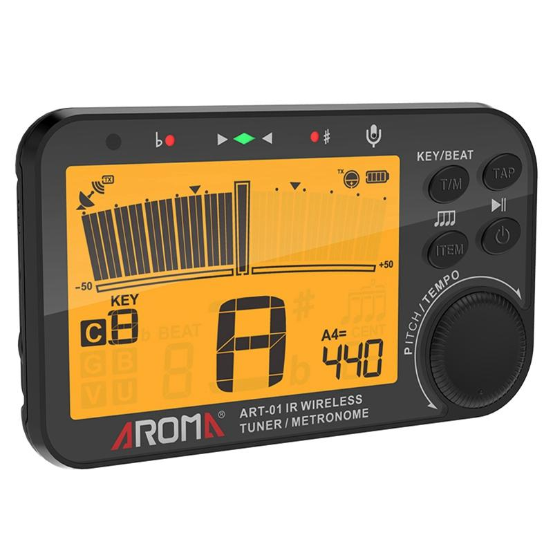 AROMA ART-01 Infrared Wireless Tuner Metronome Big Screen With Orange Backlight Tuning for Guitar/Bass/Violin/Ukulele