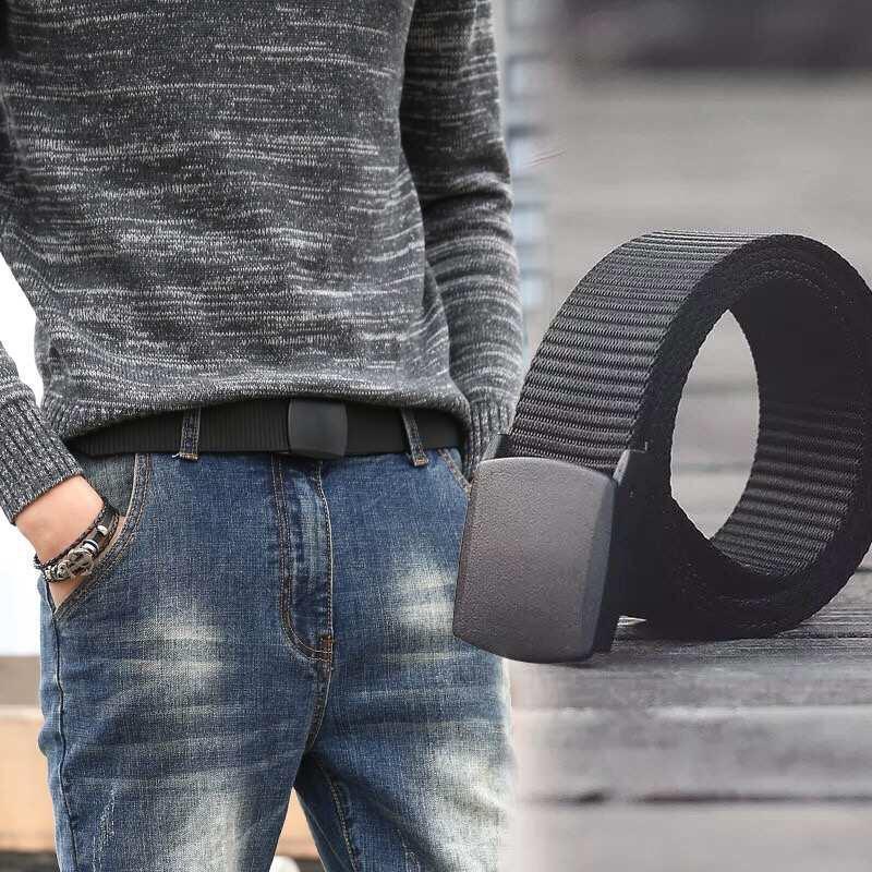 503707458d Mens Belt Canvas Outdoor Tactical Adjustable Belt with Plastic Buckle  (Black)