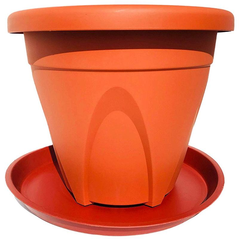 10 Pack(14 Inch) Plant Saucers Terra Cotta Flower Pot Tray Excellent for Indoor & Outdoor Plants with 10 Plant Tags