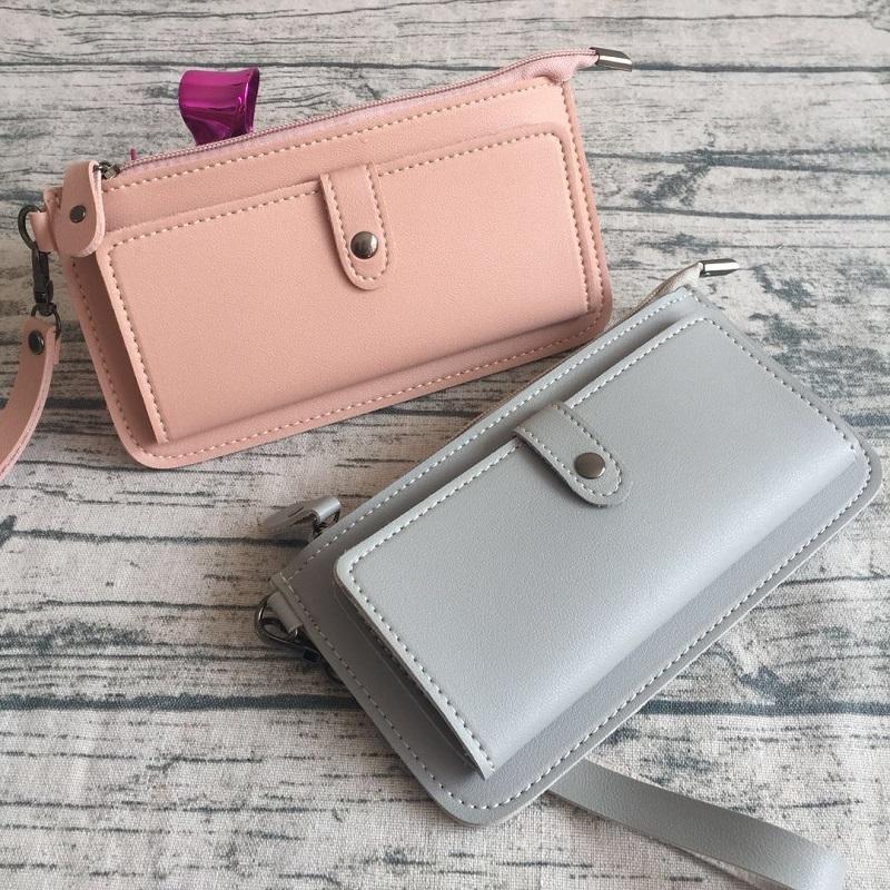 AMOG New Fashion Lady Purse PU Leather Wallet Zipper Wallet Purse Fashion Card Holder Phone Bag