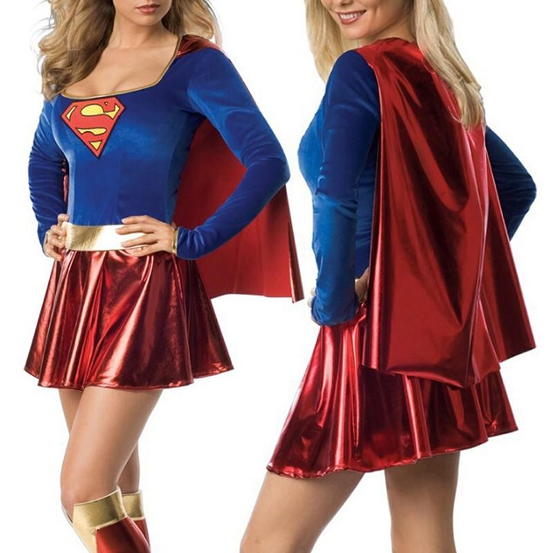 Woman Super Cosplay Party Dress / Boots Halloween Costume