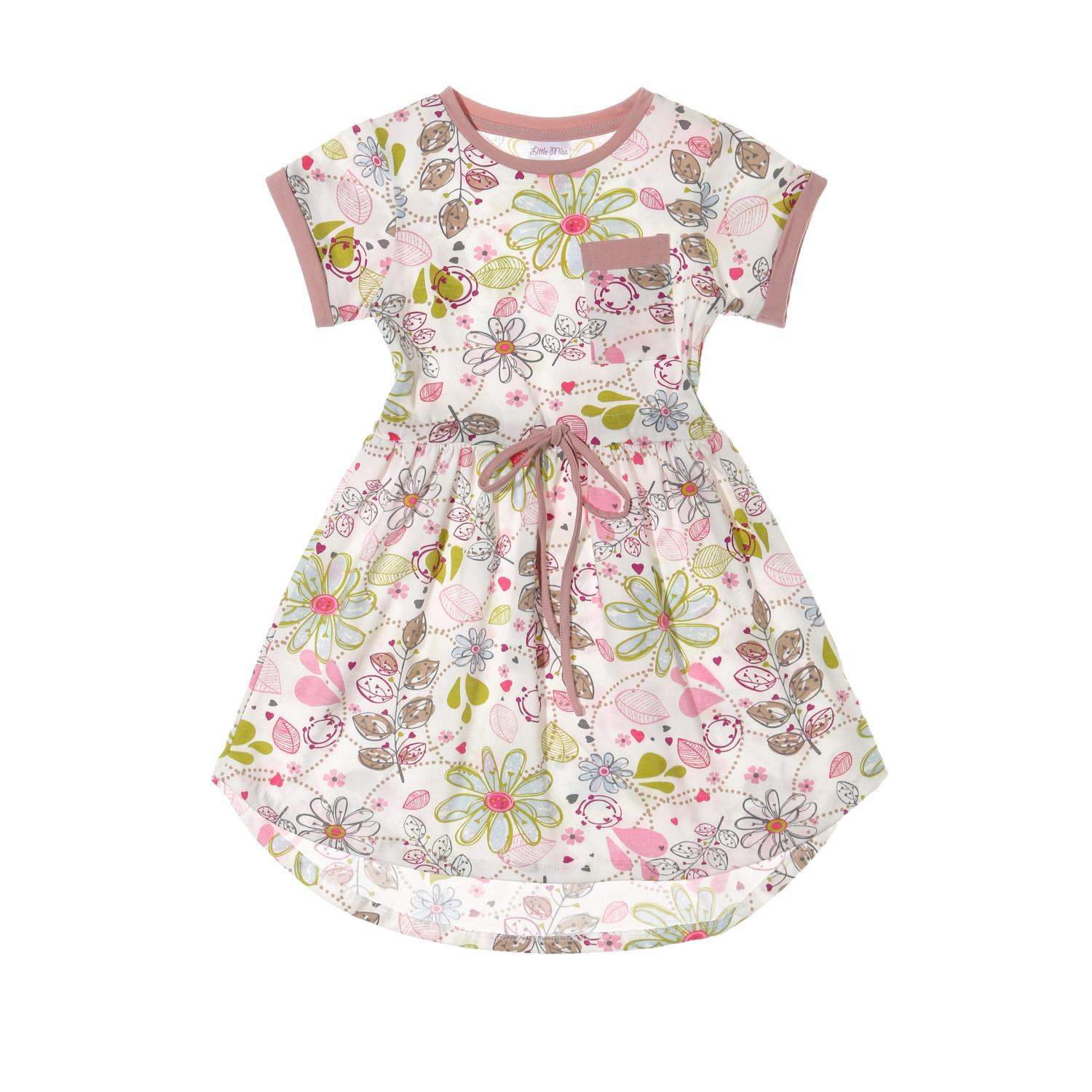 Little Miss Toddler Girls Floral Fit And Flare Dress In White By The Sm Store.