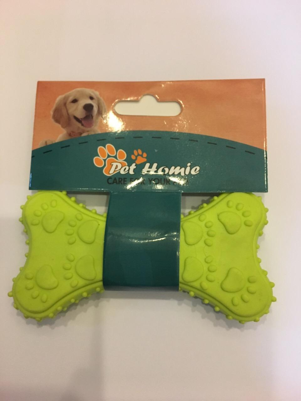 Rubber Teether Flat Bone By Okc Pet Boutique.