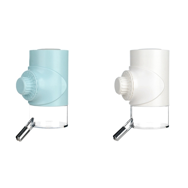 2Pcs 500ML Pet Drinker Rabbit Drinking Water Feeder Bowl Cat Dog Cage Hanging Water Dispenser Device,Blue & White