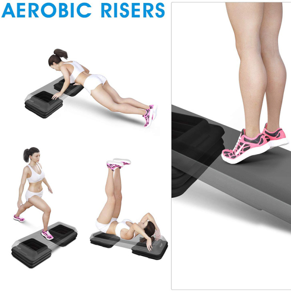 Adjustable Aerobic Step Risers Gym Fitness Stepper Workout Exercise Pad Pedal Increase Base Tray Fitness Equipment Accessory