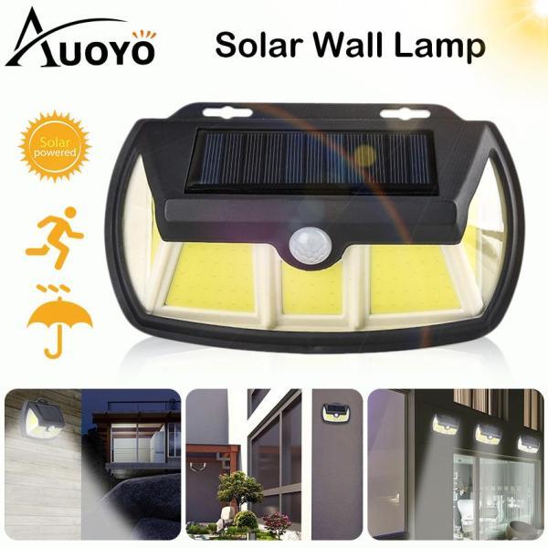 Auoyo Solar Sensor Lights LED Outdoor Lighting 65 COB Lights IP65 Waterproof Wall Lights Solar Powered Lights Porch Light for Front Door Garden Street Yard
