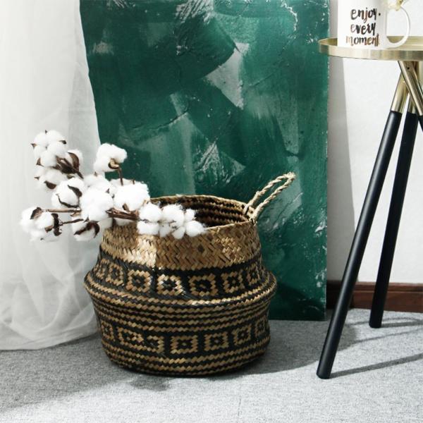 Longfellow Folding Grass Woven Hanging Storage Basket Garden Plants Flower Wicker Pot