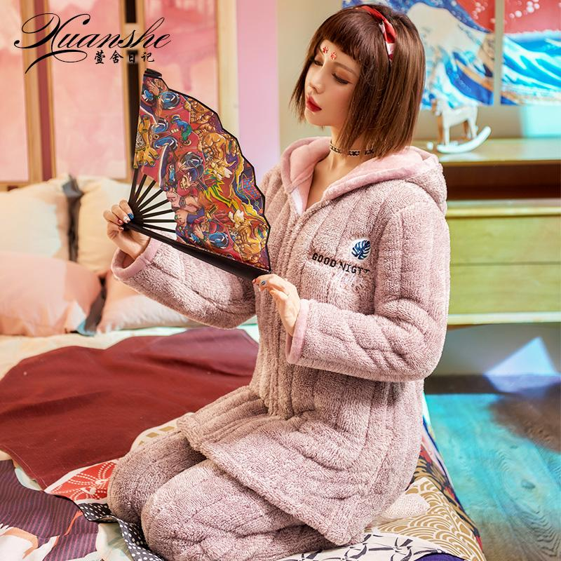 Pajamas women Winter Coral Velvet Thick Warm Cute plus Velvet Three Layer  Padded Can Outer Wear fa331626e