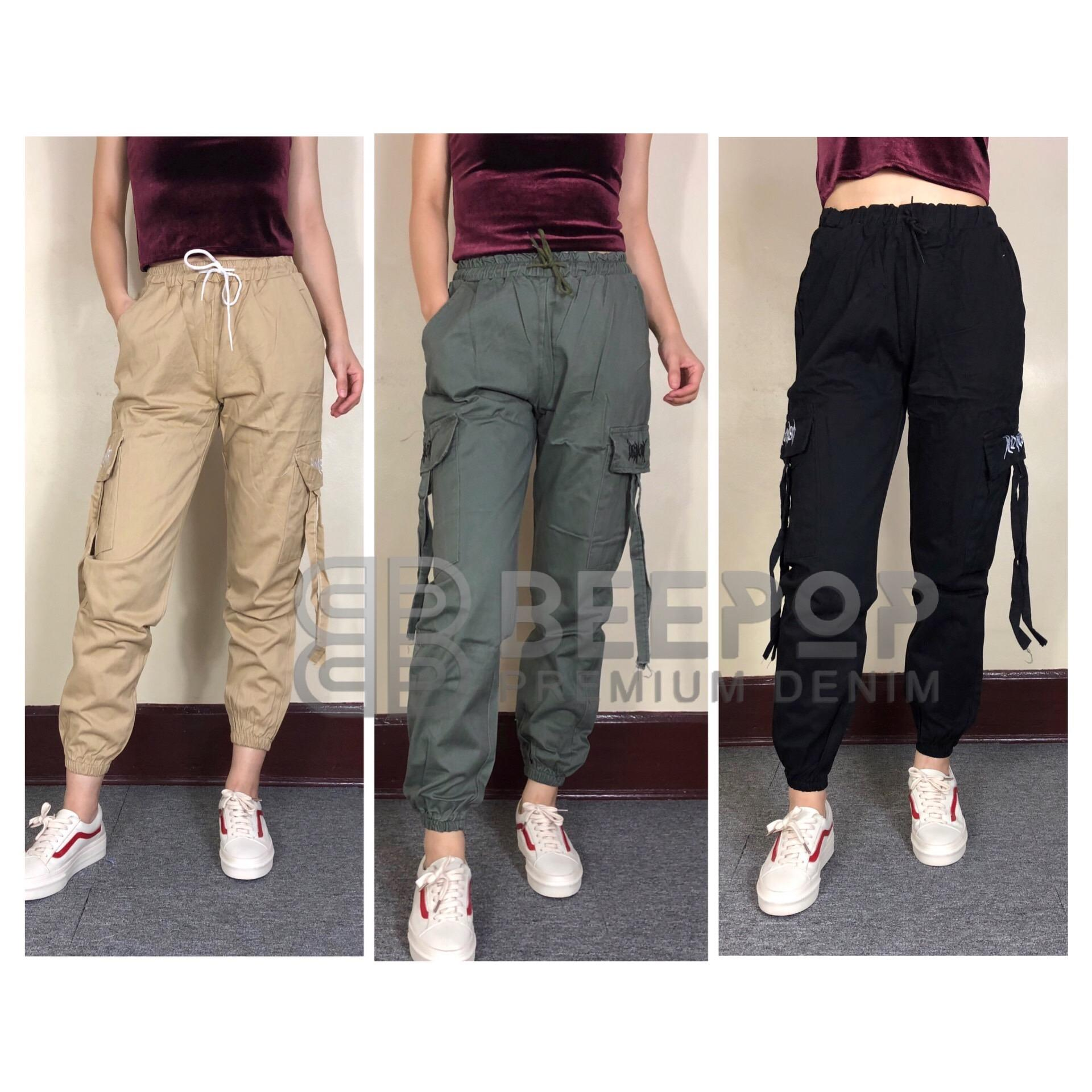a2efc3710 BeePop Trendy Cargo Pants Jogger HighWaist Loose Fits Casual Wear Chinos