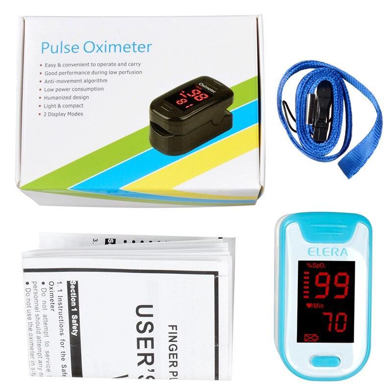 (blue )ELERA CE Digital Finger Oximeter Pulse SpO2 Saturation PR Oximetro Monitor Oximeter blood Oxygen de dedo+Case LLT Store