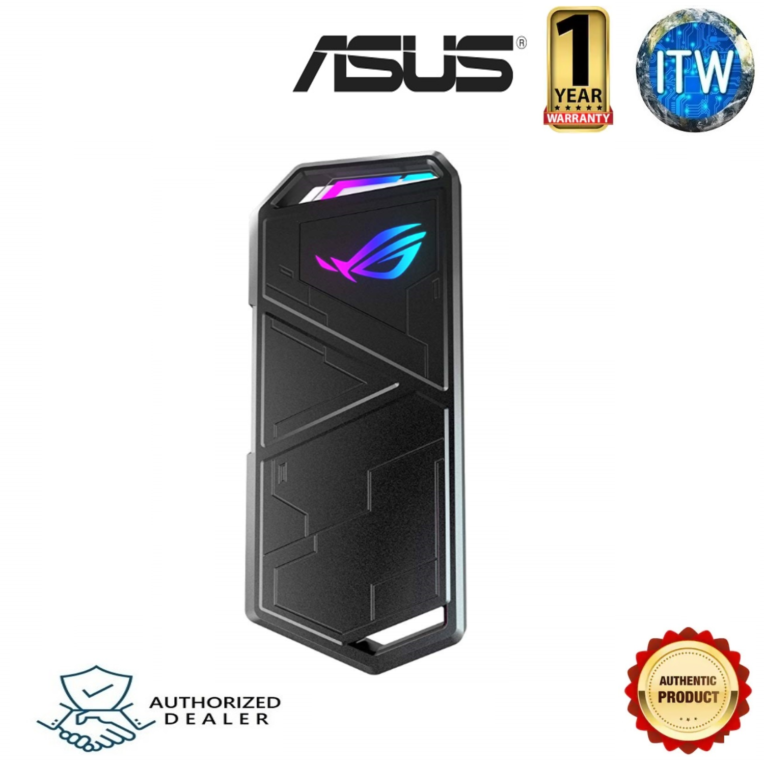 Asus ROG Strix Arion M.2 NVMe SSD ENCLOSURE USB3.2 GEN2 Type-C (10 Gbps), Dual USB-C to C and USB-C to A Cables, Screwdriver-Free, Thermal Pads Included, Fits PCIe 2280/2260/2242/2230 M key/B+M Key