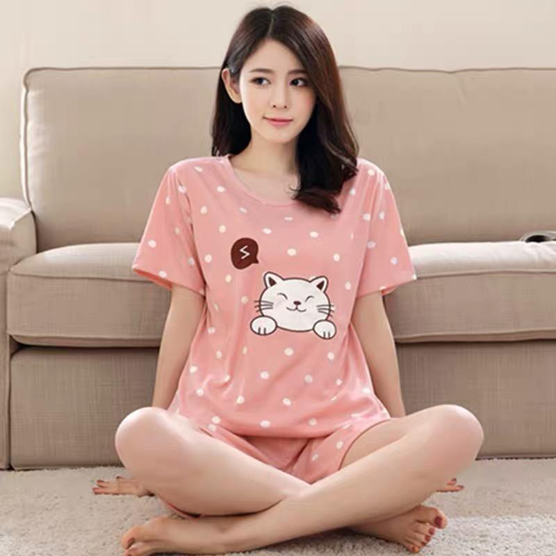 66bf6f947c XUEBAMI Korean Cartoon loose pajamas Lady Terno Short Set