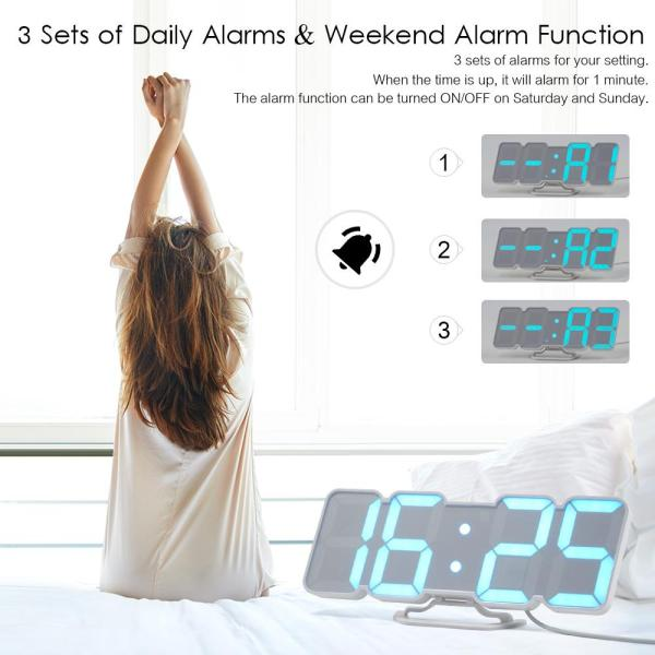 Nơi bán Upgraded 3D Wireless Remote Digital RGB LED Alarm Clock USB Powered Time/Temperature/Date Display 115-Color Changing 3-Level Brightness Sound Control Humidity/Countdown/Snoozing Functions Wall Desktop Clock--White