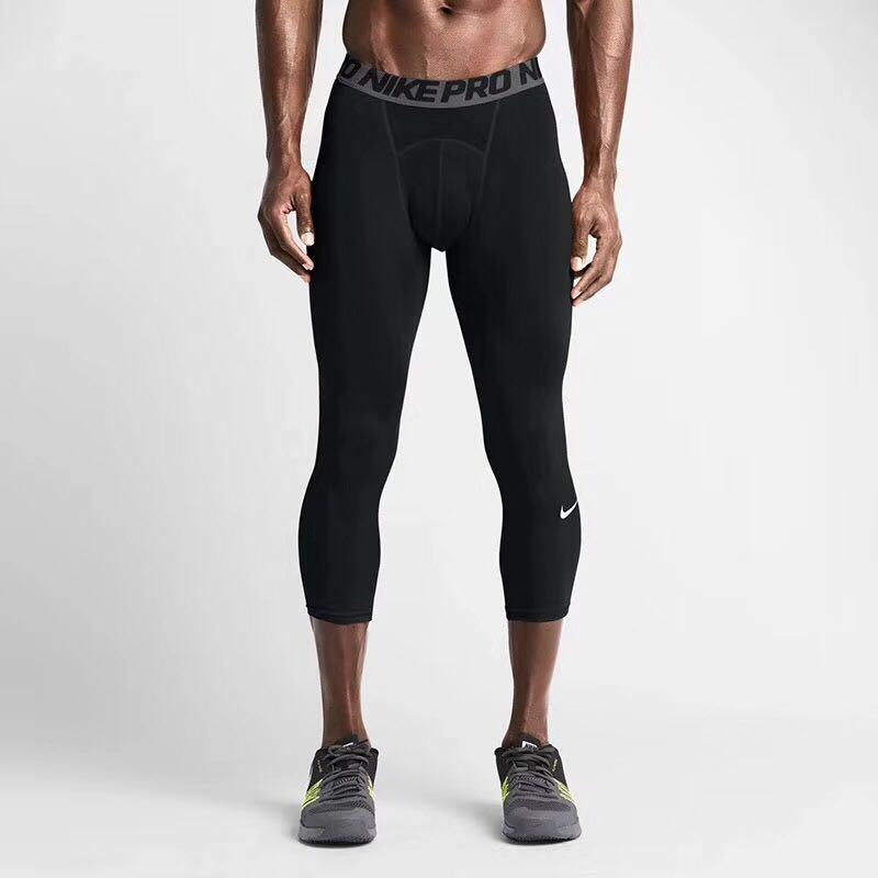 253356ef88e29 Pro combat Compression 3/4 tights BLACK-Cool Dry Sports Tights Pants  Baselayer Running