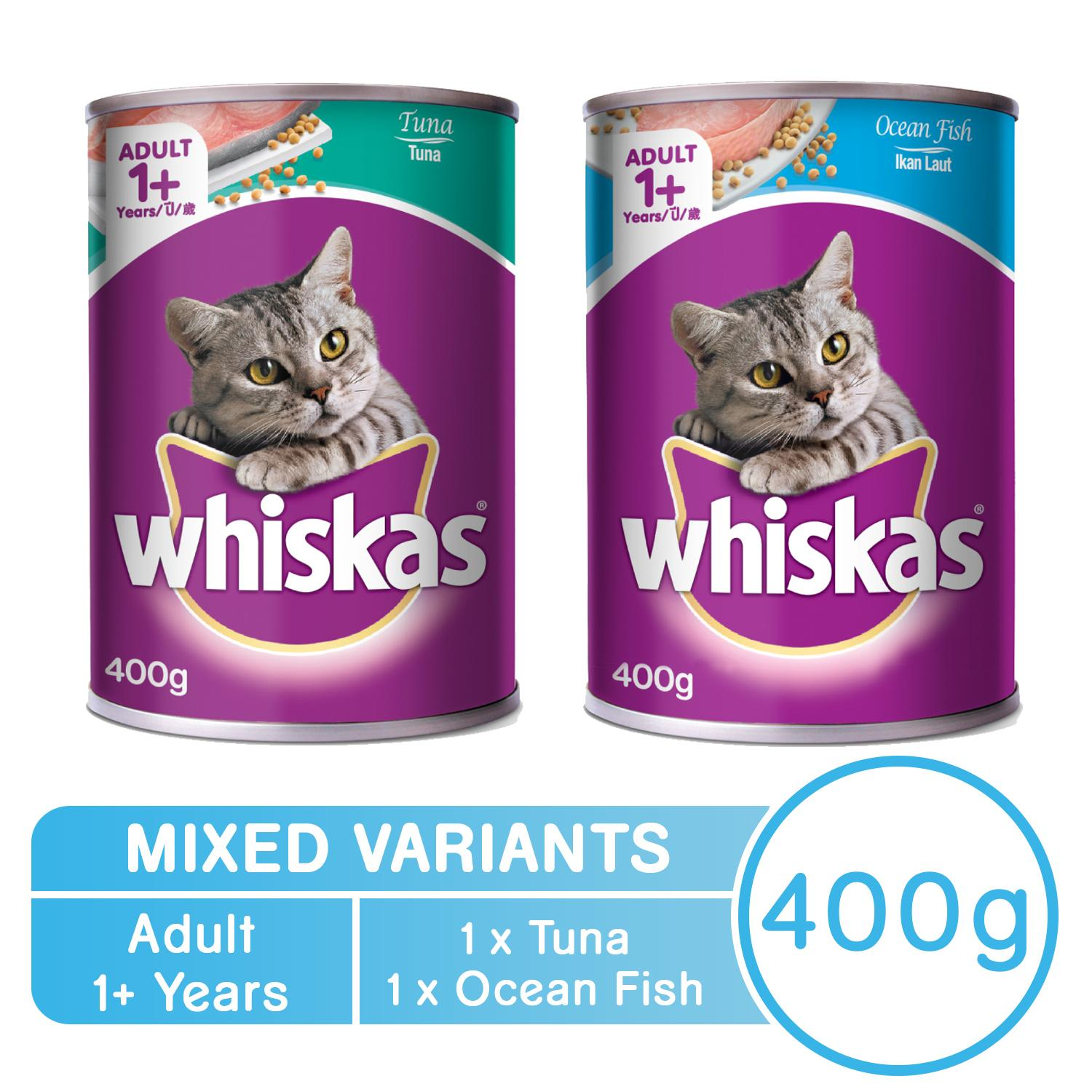 WHISKAS® Adult Tuna and Ocean Fish Wet Can Cat Food Set of 2 (400g