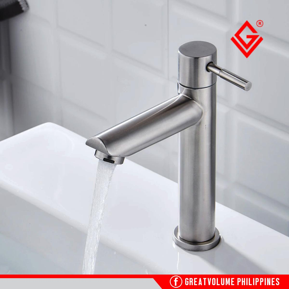 GV LX6601- LT SS304 Stainless Basin Cold Tap Faucet Gripo Kitchen Sink  Shower