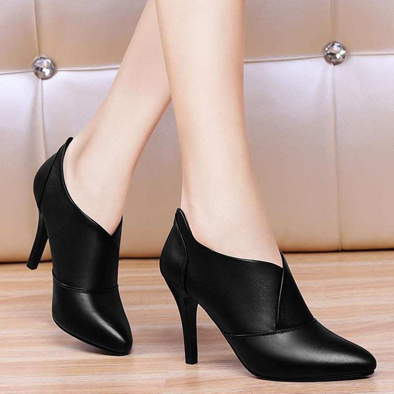 High Heel Shoes women Thin Heeled Spring And Autumn Spring High Heels  Leather Shoes 2019 Spring Ball Season New Style women Shoes Versatile Shoes