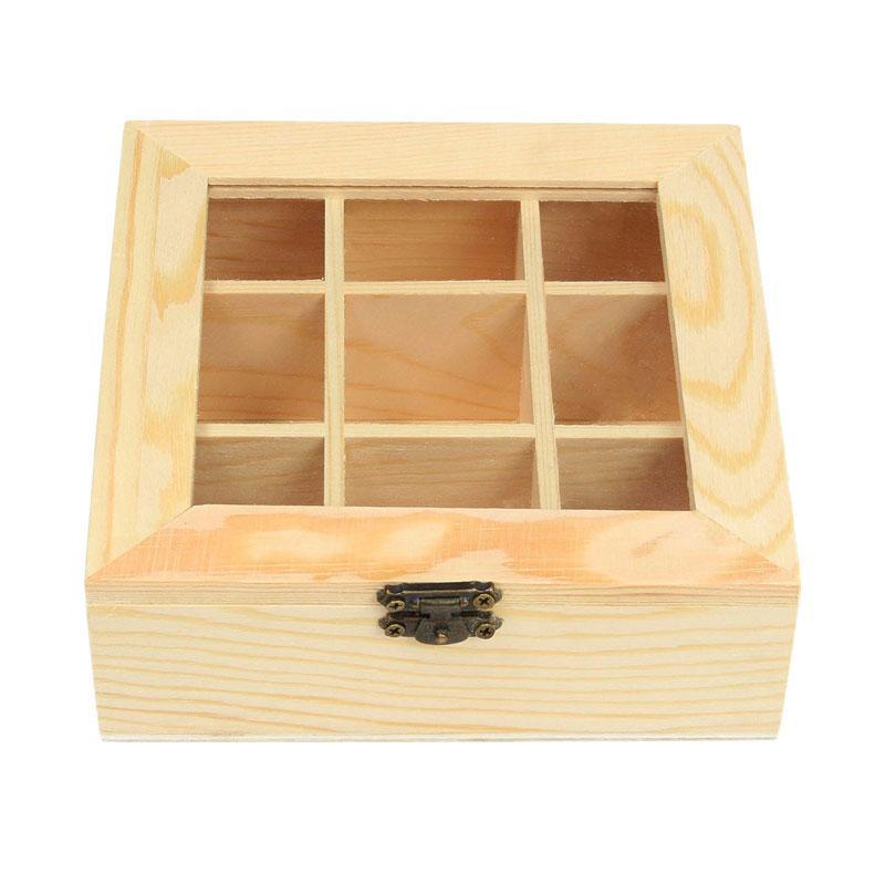 Wooden Tea Bag Jewelry Organizer Chest Storage Box 9 Compartments Tea Box Organizer Wood Sugar Packet Container By Jonesmayer.