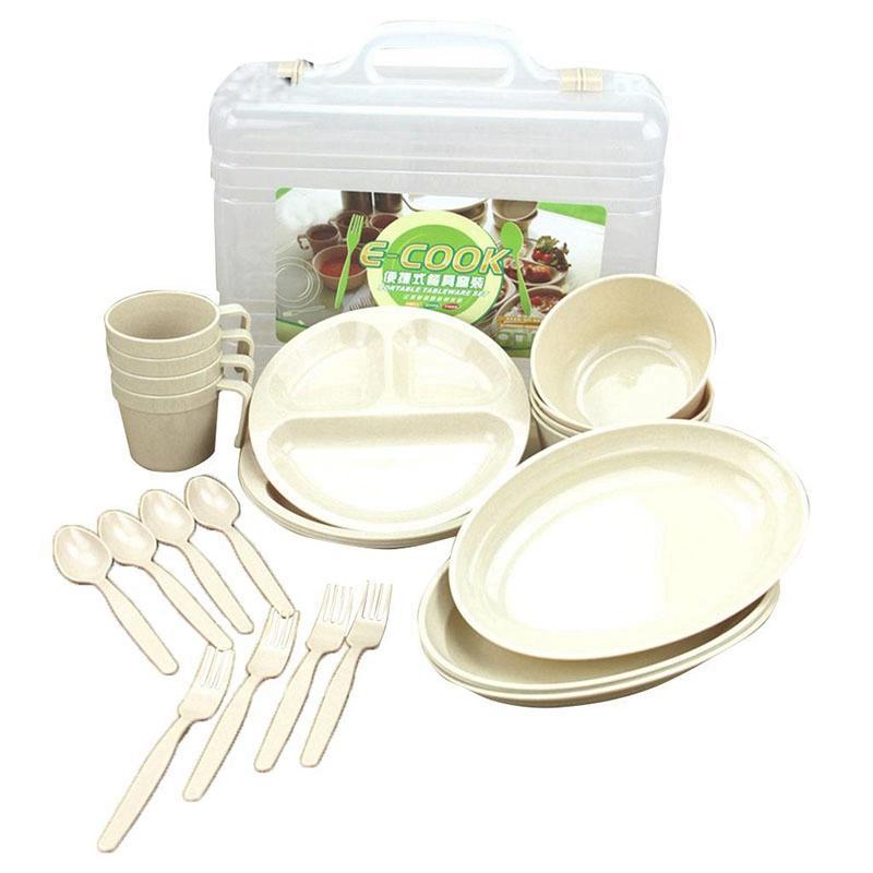 Outdoor Picnic Barbecue Portable Plastic Tableware Set Bowl Dish Cup Set Combination