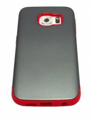 Slim Fit Hybrid Shockproof Case for Samsung Galaxy S6 (Grey / Red)