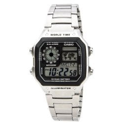 Casio Digital  AE-1200WHD-1AVDF Silver Stainless Steel Band Men's Watch
