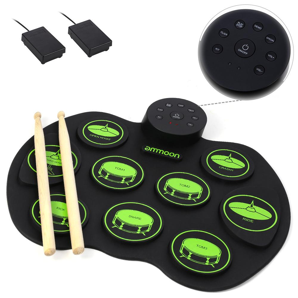 Portable Electronic Drum Set - ammoon Digital Roll-Up Touch Sensitive Practice Drum Kit 9 Drum Pads 2 Foot Pedals for Kids Children Beginners (No Speakers)