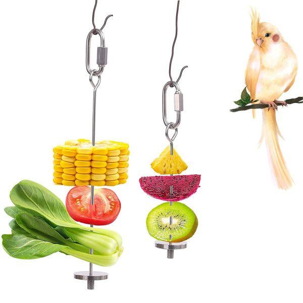 MALIMALI Budgie Điều trị cho thú cưng Thép không gỉ Phụ kiện lồng Đồ chơi kiếm ăn Trái cây thanh Người giữ thức ăn cho chim Xiên rau Người cho vẹt