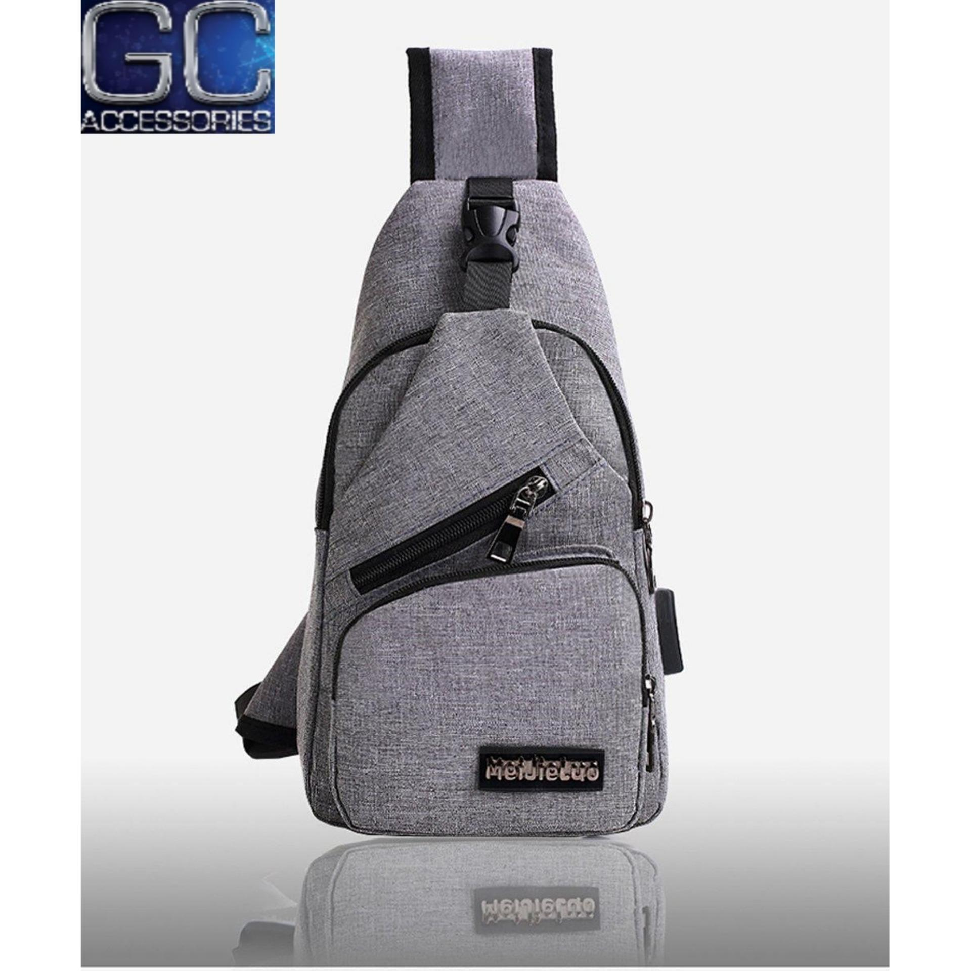 Philippines. Men s Anti Theft Chest Sling Bag with USB Port for Powerbank 6b9834a878f05