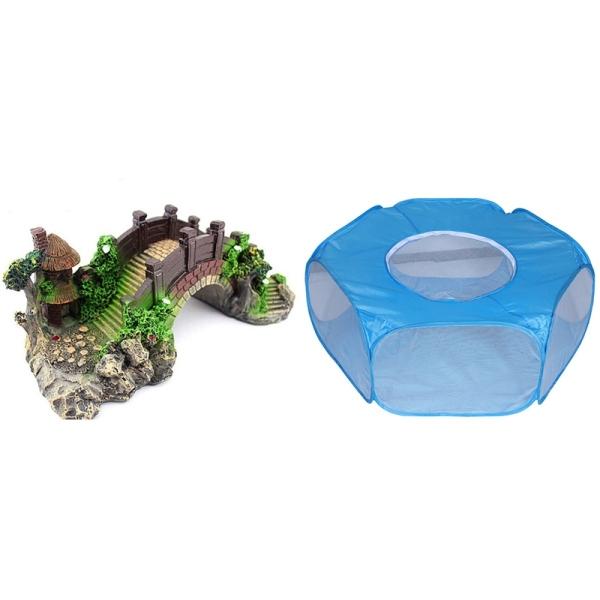 Small Animal Playpen Foldable Pet Cage with Aquarium Decoration Resin Arch Bridge Model