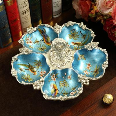 American Fruit Plate Teapoy Table Decoration Decorations Creative Compartment Tray Household Vintage Luxury Living Room European Style Dried Fruit Tray