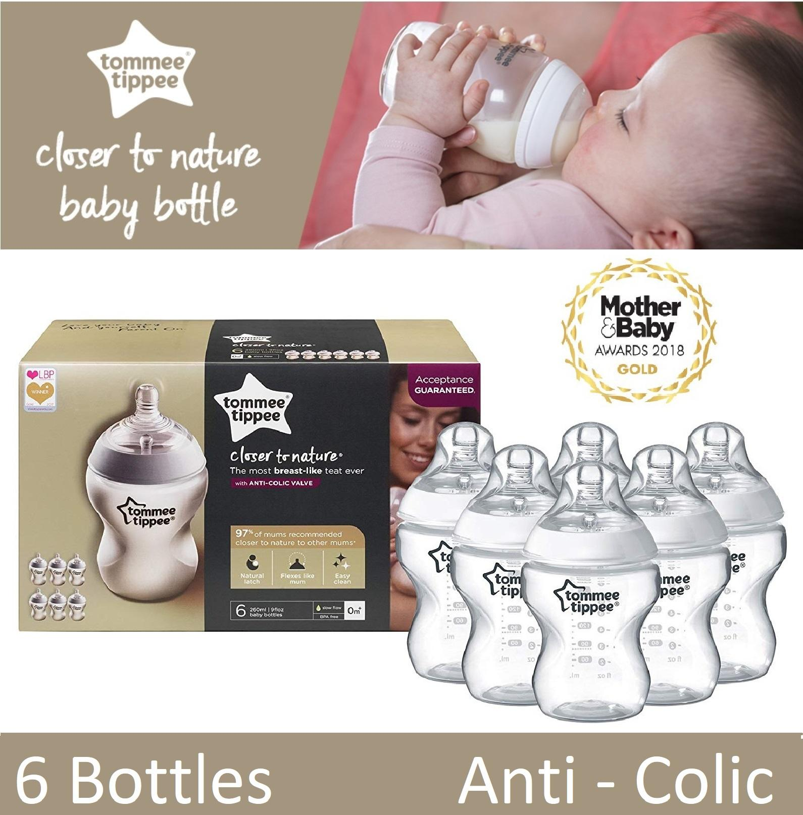 Tommee Tippee Closer To Nature Feeding Bottles, 260 Ml/9 Floz, Pack Of 6 By Imaginarium.