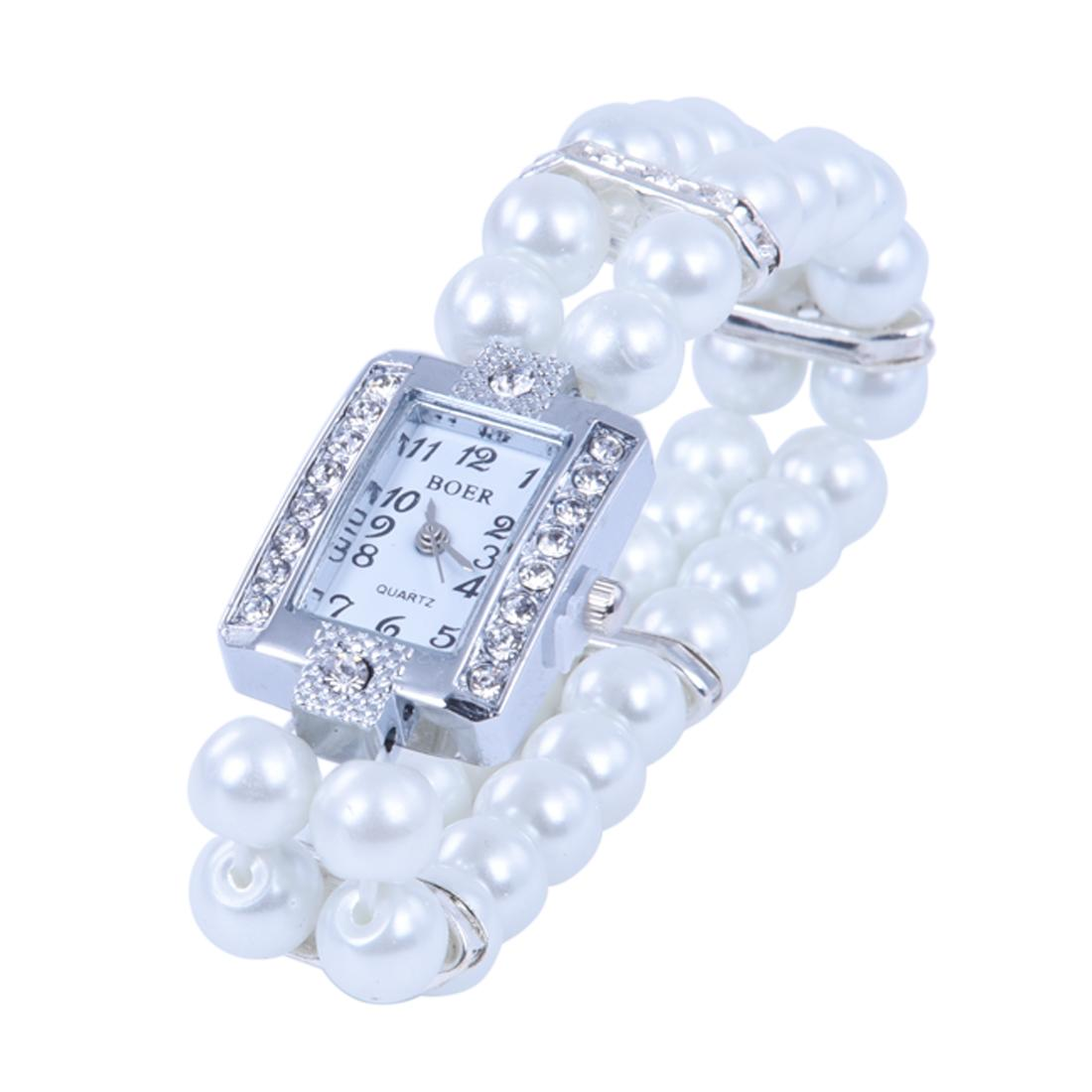 Metal Pearl Crystal Bracelet Bangle Stretch Square Dial Wristwatch Wrist Watch Malaysia
