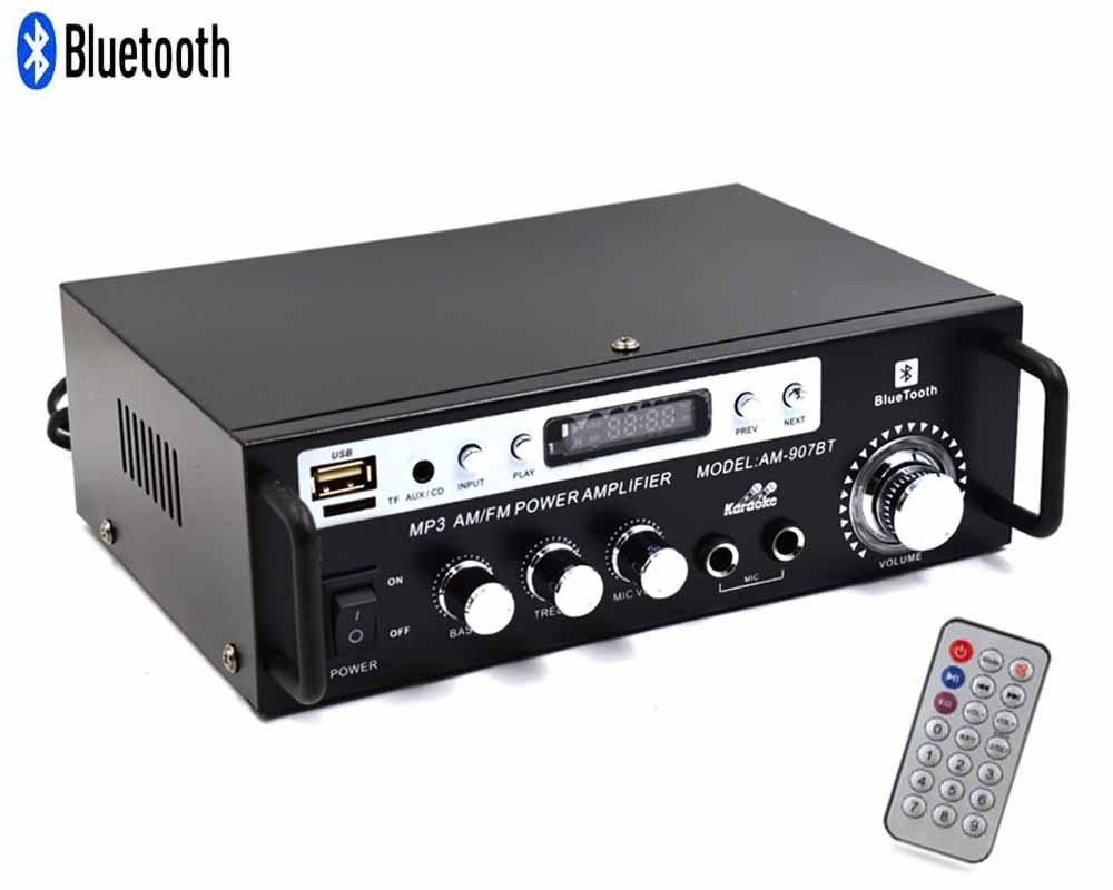 AM-907 AMPLIFIER Bluetooth USB/SD/FM/AM Radio ISO Connector with Remote  Control