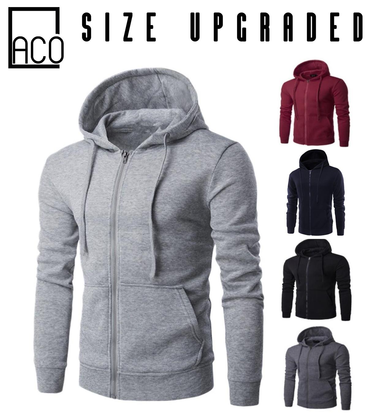 521a1d6ce2c8 ACO Fashion Mens Jacket with zipper Hoodie Jacket Plain (Size Upgraded)