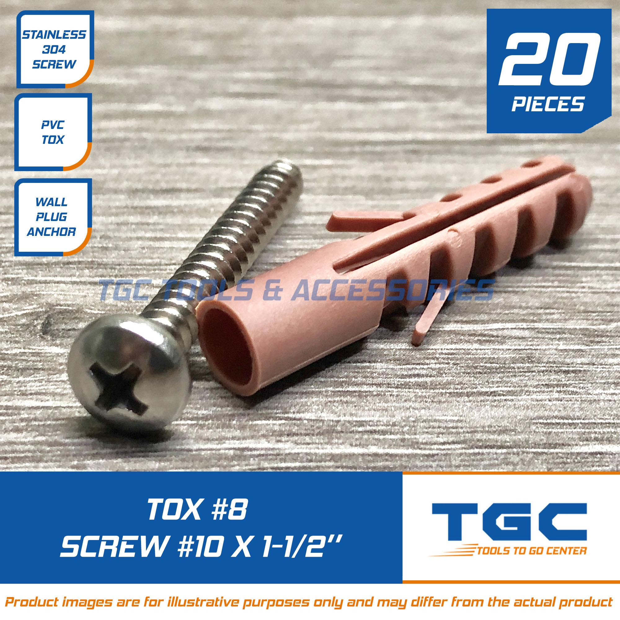 20PCS Tox 8 with Stainless Screw 10 x 1-1/2 inch for Wall Plug Anchor TGC  Plastic Screw Anchor