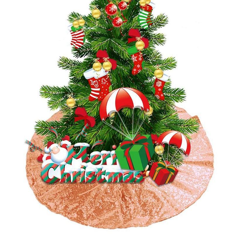 Christmas Tree Skirts 48Inch Sparkly Tree Skirt Fabric Carpet Round Gold Sequin Chrismas Tree Mats Beautiful Photography Tree Skirt