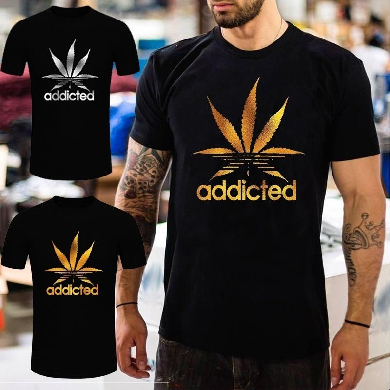 a849916e742 Men Fashion Addicted Leaf Gold Or Silver Glitter Print Short Sleeve Cotton T -shirt Size