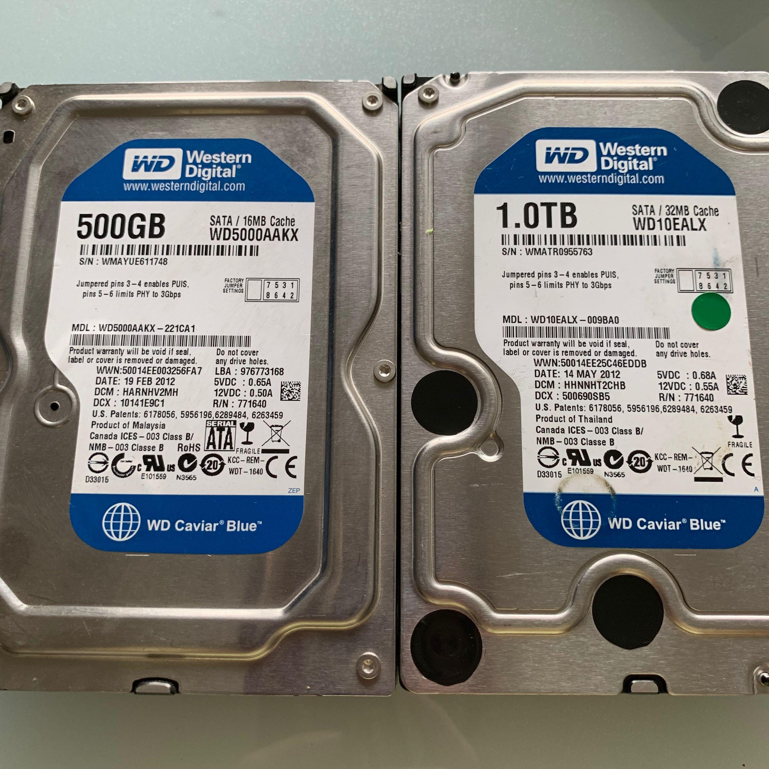 "3 5"" Desktop Hard Drive HDD Used 100% Healthy WD"