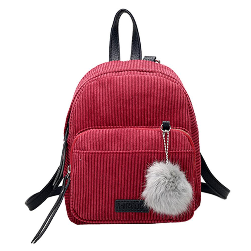 25b24de73be9 School Bag for Girl Vintage Corduroy Solid Color Travel Backpacks Striped  Pompon Cute Shoulder Bag