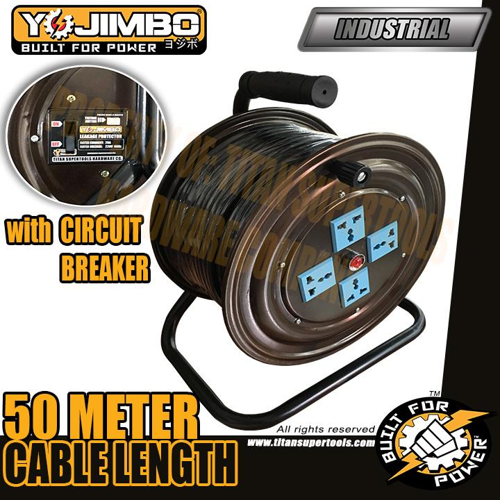 Yojimbo Yj-Ecr50 Heavy Duty Extension Wire Cable Reel 50 Meters Power Cord Extension With Breaker By Mount Gallelli.
