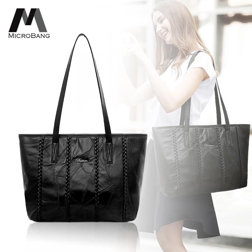 8aac6132240 MicroBang Tote Bags Women PU Leather Shoulder Bag Top-handle Handbag Large  Capacity Messenger Satchel