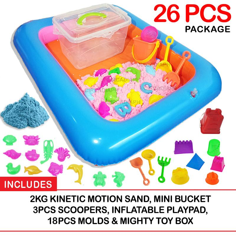 2kg Kinetic Motion Sand Playset With 18 Molds, Inflatable Pool And Box By Circadia Ph.
